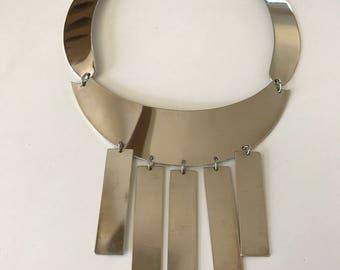 1980s necklace bib necklace silver necklace statement necklace vintage jewelry 1980s jewelry