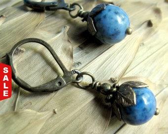 Interesting Blue Gemstone Earrings, Gift for Her Jewelry