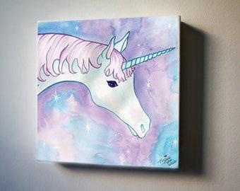 "Bob is a Unicorn  8""x8"" Canvas Reproduction"