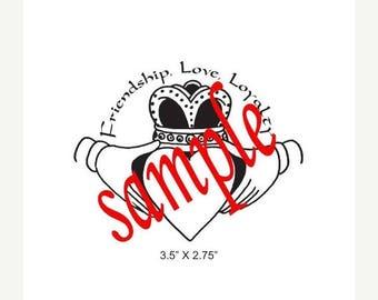 Super Summer Sale Claddagh Friendship Love Loyalty Celtic Rubber Stamp 451