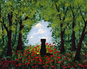 Black Lab Dog folk art print by Todd Young The Clearing