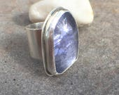 Tanzanite Sterling Silver Wide Band Bold Ring Size 7.5