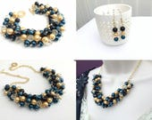 Set of 6, Black Gold and Midnight Blue Jewelry Set, Bridesmaids Matching Pearl Set, Pearl Beaded Jewelry, Blue Wedding Theme