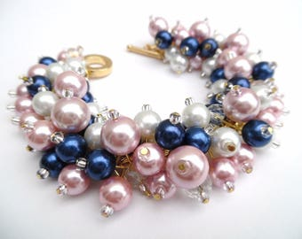 Set of 5 Navy Pink Gold and White Pearl Beaded Bracelets, Pearl Cluster Bracelet, Bridesmaid Jewelry, Pink Bracelet, Bridesmaid Gift