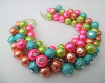 Dangle Bracelet, Pearl Cluster Bracelet, Chunky Bracelet, Bright Coloured Jewelry, Pastel Bracelet, Gift For Her, Ready to Ship, Lime Pink