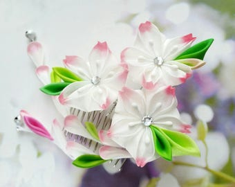 Pink White Cherry Blossom Silk Hand Dyed Flower Kanzashi Comb Made To Order