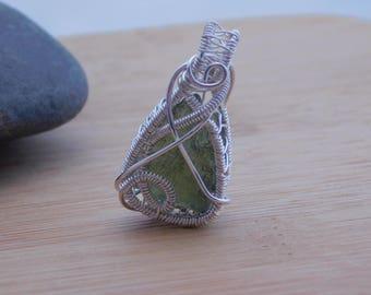 Green Moldavite Pendant Sterling Silver Czech Republic Tektite Handmade Scifi Medallion Wire Wrapped Jewelry Handcrafted Wrap Weave OOAK