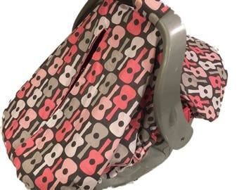 Fitted Car Seat Canopy~Michael Miller's Pink Guitars~with Pink Minky Interior~Unique fitted design car seat cover
