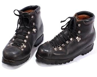 Swiss Army Combat Boots 80s Military Mountain Mountaineering Men Raichle Swiss Alpine Heavy Black Leather size Men Us 7.5, Eur 40, Uk 7
