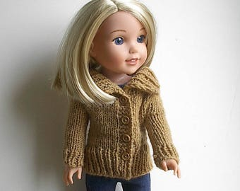 14.5 Inch Doll Clothes Knit Sweater with Big Collar Handmade to fit the Wellie Wishers and similar dolls - Brown Tan Cardigan with Buttons