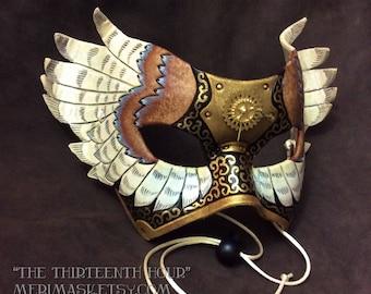 The Thirteenth Hour V4... original mixed media handmade winged Venetian clockwork leather mardi gras halloween mask