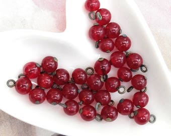 24 Vintage 6mm Red Glass Bead Drop Supply