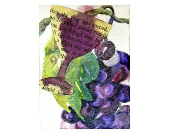 A Time For Wine is Anytime ACEO Watercolor Collage Original Artist Card For Shelf Art, For Art Grouping, For Framing, Collectible Wine Art