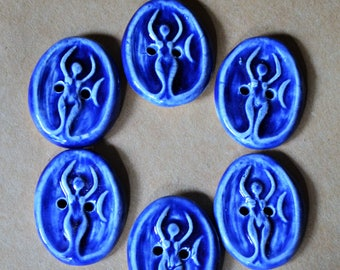 6 Ceramic Goddess Buttons - Handmade Buttons in Bold Blue Gloss  - Focal Artisan Stoneware Buttons for Jewelry Bracelets or Hand Knit