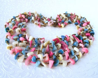 Vintage Chunky Shell 5 Strand Necklace Mother Of Pearl Pink Blue Ivory Nugget MOP Costume Jewelry JAPAN Boho Chic Beach Wedding Ocean Bride