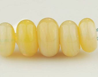 Yellow Boro Glass Spacer Beads - Handmade Lampwork Glass Bead Set