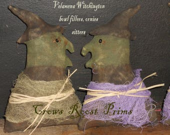Halloween Velamena Witchington doll sitter ornament  382e Primitive Crows Roost Prims epattern immediate download