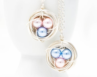 Mothers Day Gift - Blue and Pink Eggs - Bird Nest Necklace - Push Present - Pearl Eggs - Silver Nest Necklace - Nest Necklace For Mother