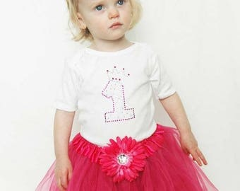 Baby Girls First Birthday Tutu Outfit with Rhinestones, Hot Pink or Baby Pink