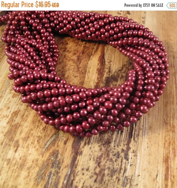 Summer SALEabration - Red Freshwater Pearl Beads, Deep Rose Potato Pearls, 4mm - 4.5mm, 15 Inch Strand, Over 100 Pearls for Making Jewelry (