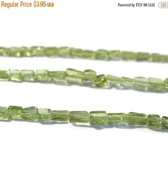 Summer SALEabration - Natural Peridot Beads, Small Smooth Rectangles, 7 Inch Strand, Natural Gemstone Beads, August Birthstone, Jewelry Supp
