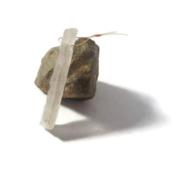 Crystal Quartz Point Pendant, Natural Gemstone Pendant, 38mm x 6mm Gemstone Bead For Making Jewelry (L-Mix11d)