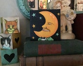 mini original moon and stars art, sandy mastroni,  mini canvas ,original painting , 4 x 4 canvas, gallery wrap