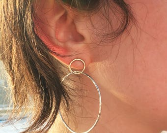 Big Little Two Toned Linked Hoops - 14k Goldfill and Sterling Silver Hammered Hoop Stud Dangles