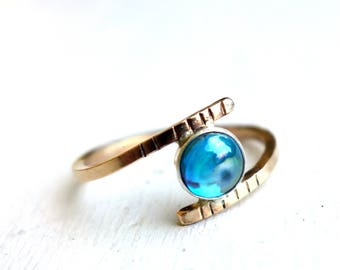 14k Gold Filled And Rainbow Topaz Bypass Ring, Handmade by Rachel Pfeffer Gold and Aqua, Teal, Blue, Iridescent Colorful Gemstone Ring
