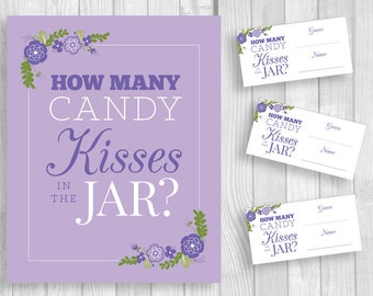 Guess How Many Candy Kisses in the Jar 5x7, 8x10 Shower Sign and Guess Cards Lilac, Lavender and Purple Floral - Baby or Bridal Shower