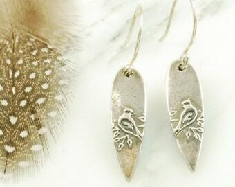 Cardinal Earrings - Delicate Sterling Silver Bird Earrings with Hypoallergenic Ear Wires