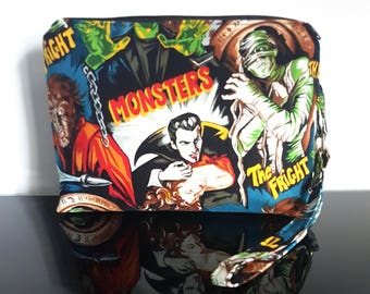 Horror Movie Monsters Make Up Cosmetics Bag Clutch Purse, Ready to Ship