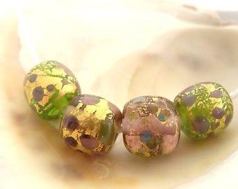 4 Golden Frit Beads Handmade Lampwork