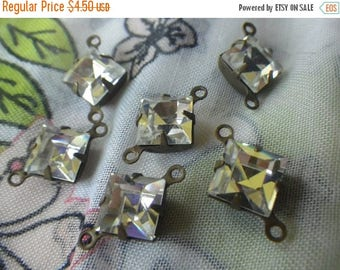 SALE 30% Off Crystal Clear Vintage Swarovski Square 8x8mm Glass Connectors Two Loops 6 Pcs