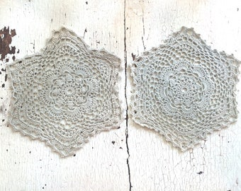 Twin Crocheted Doilies 5 1/4""