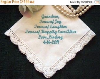 ON SALE Grandmother 96S Personalized Wedding Handkerchief