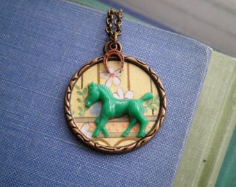 Vintage Horse Charm Necklace - Paper Ephemera Retro Collage Art Pendant - Good Luck Green Horse Button + Horsehsoe + Floral Jewelry Gift