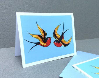 Swallows Notecards, Cards Art Colorful Birds Sailor Jerry Tattoo inspired blue red orange love