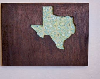 Texas Sign - Small Green Flowers Sign - Farmhouse - Rustic - Wood Stained- READY TO  SHIP - In Time For Christmas-  Order By December 19th