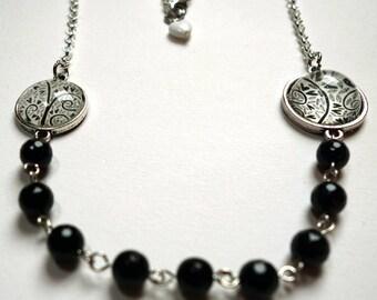 Long necklace, black hearts SD02A