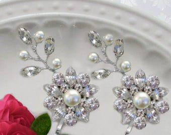 Wire Vine  Bridal Hair pins, Pearl bobby pins, Bridesmaid hair Clip, Crystal Hair Pin set wedding hair clips, bridal Bobby Pins