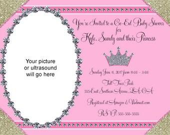 Baby Shower Silver Gold Sparkles Diamonds Invitations Digital Design