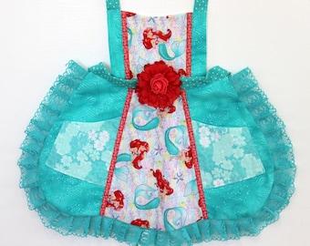 Little Mermaid Apron, girls apron, toddler apron, disney apron