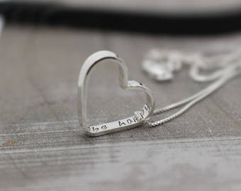 Sterling Silver Heart Charm Personalized Necklace - Monogram and Name Necklace