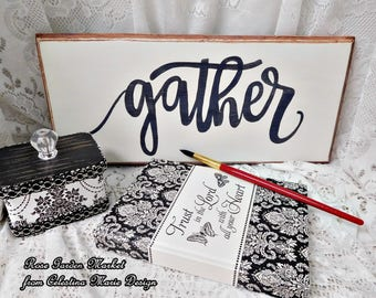 Gather Wood Sign, Routed, Distressed Wall, Shelf Sign Hand Painted with Brown Umber Edge, Farmhouse, Country Farmhouse, Cottage ECS