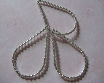6 Large 45mm Twisted Teardrop Silver Plated Metal Link Connector Earring Drop