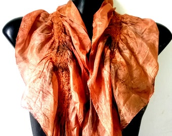 Salmon Eco Printed Nuno Felted Silk Scarf Natural Dyes Eco Friendly Summer Scarf Silk Clothing
