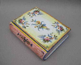 Italian Pottery Book Shaped Box Hand Painted Floral Design Ceramic Keepsake Box Made in Italy