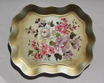 "Vintage Floral Tole Tray Scalloped Edge Metal Tole Painted Tray Hand-Painted Flowers on Gold Background 17"" x 14"" Toleware Tray As-Is"