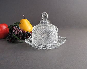 Vintage Clear Glass Butter Dish, Dome Butter Dish, Pressed Glass Dish, Covered Butter Dish, Avon
